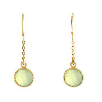 Gemshine Damen Ohrringe Ohrhänger Silber Vergoldet Chalcedon Meeresgrün
