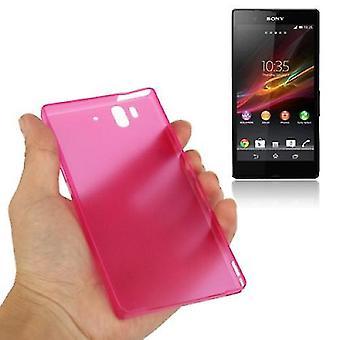 保護カバー携帯電話ソニー Xperia Z 用ケース超薄い 0.3 ミリメートル/L36H/C660X ピンク透明