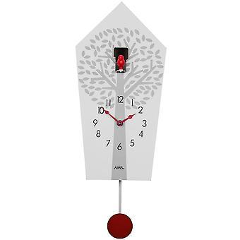 Wanduhr Quarzuhr Kuckucksuhr Quarz mit Pendel weiß lackiertes Holzgehäuse