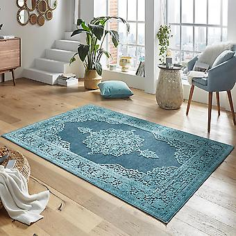 Design viscose rug willow in a relief look blue