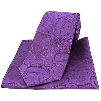 David Van Hagen Paisley grande gravata e lenço de bolso conjunto - roxo