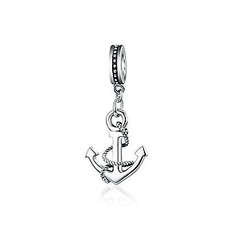 Sterling silver pendant charm Rope and anchor