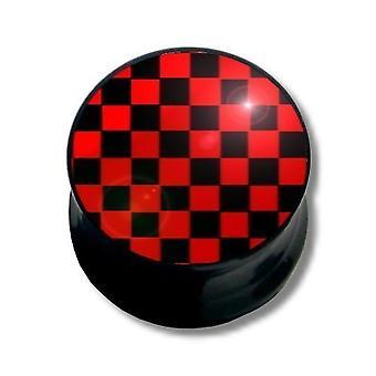 Ear Plug Piercing, piercing, nero e rosso piazze | 6 - 16 mm