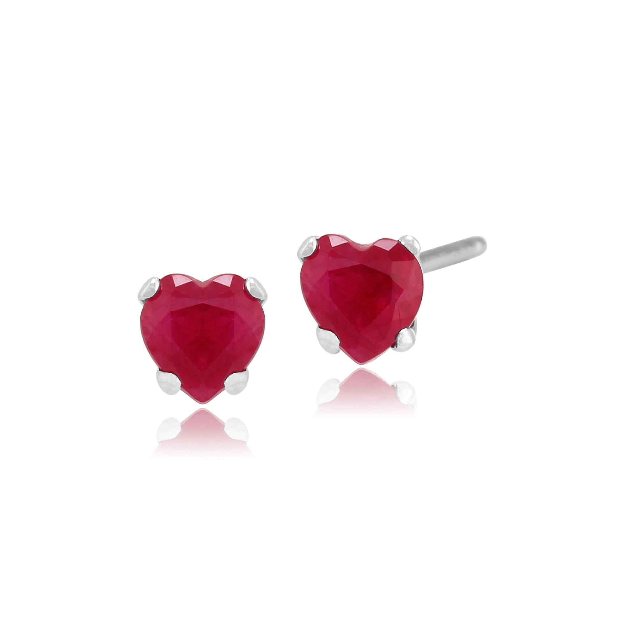 Gemondo 9ct White Gold 0.52ct Ruby 4 Claw Set Heart Stud Earrings 4x4mm