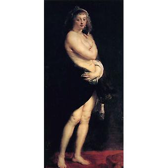 Helena Fourment in een bont wrap of het Pelsken, Peter Paul Rubens