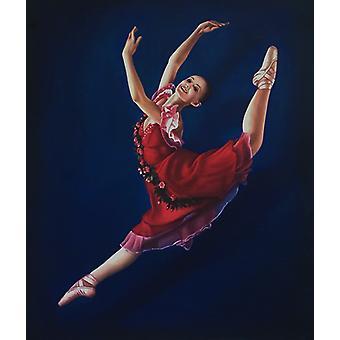 Ballet pige, oliemaleri på lærred, 50x60 cm