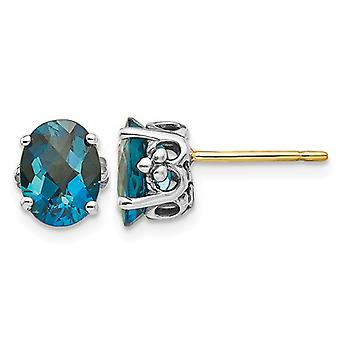 3.20 Carat (ctw) Natural London Blue Topaz Solitaire Post Earrings Sterling Silver