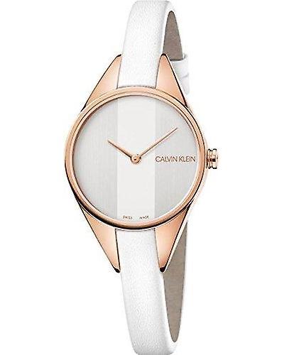 Calvin Klein Rebel White Leather Ladies Watch K8P236L6
