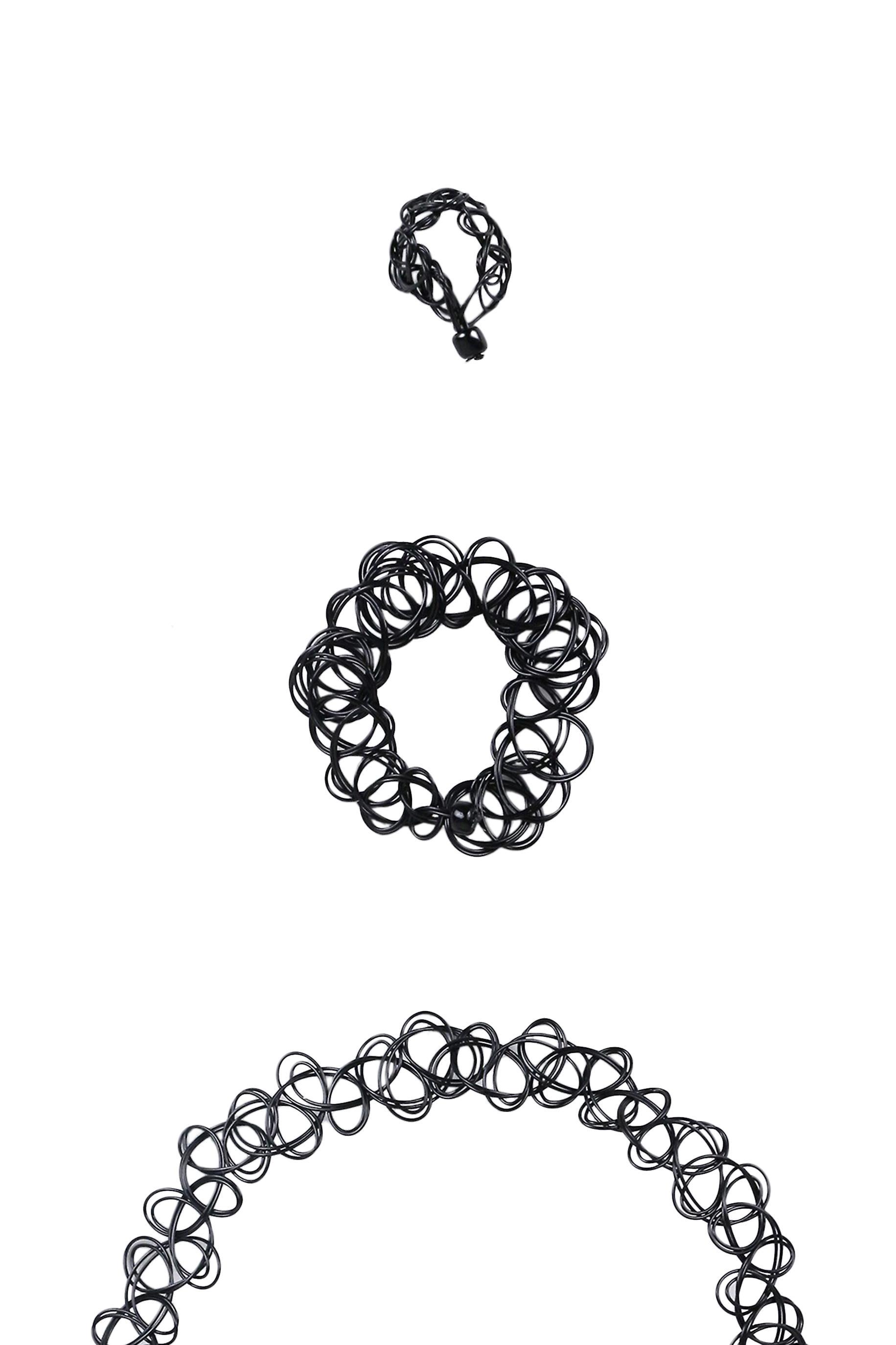 Lovemystyle Black Choker, Bracelet and Ring Set