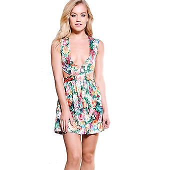 LMS Floral Detail Skater Mini Dress With Cut Out Detail