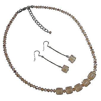 Fersken krystaller Custom håndlavede smykker m / sød dinglende øreringe