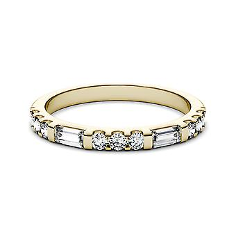 14K Yellow Gold Moissanite by Charles & Colvard 4x2mm Straight Baguette Fashion Ring, 0.50cttw DEW