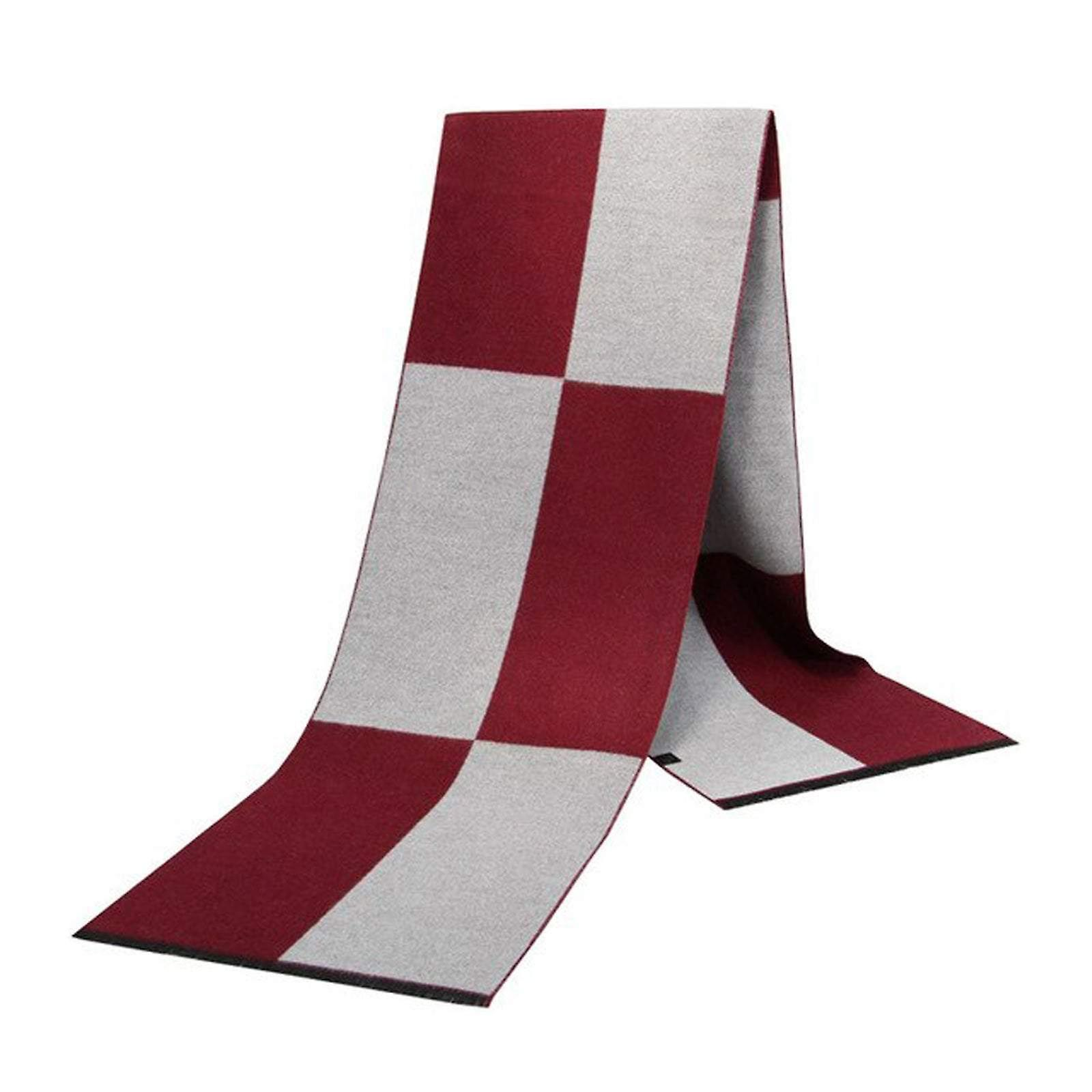 Red & grey square pattern luxury bamboo long men's scarf
