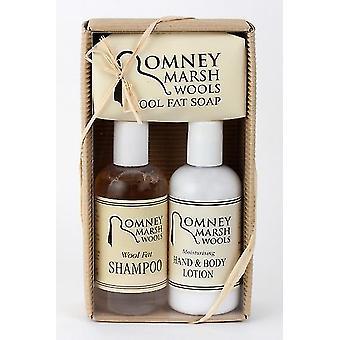 Natuurlijke gegolfd Box - lanoline Hand en bodylotion, Shampoo + zeep