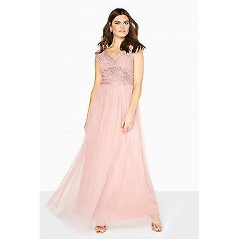 Little Mistress Womens/Ladies Wrap Over Lace Maxi Dress