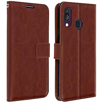 Vintage Series, flip wallet case for Samsung Galaxy A40 - Brown