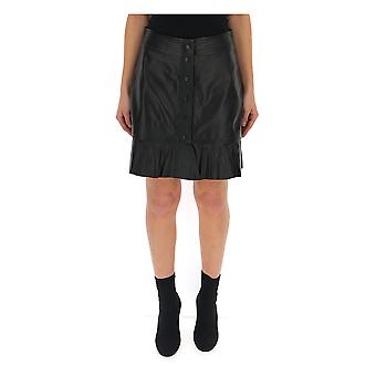 Ganni F3080099 Women's Black Leather Skirt