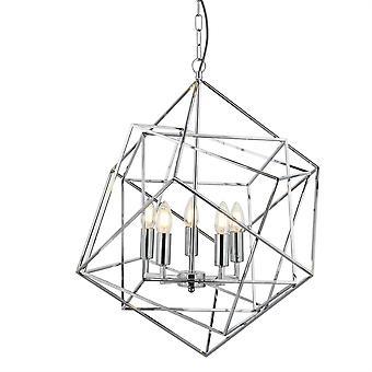 Cube Chrome conception géométrique cinq pendentif lumineux - projecteur 7865-5CC