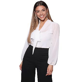 KRISP Womens See Through Chiffon Blouse Bow Tie Top Long Sleeve Smart Shirt