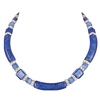 Eternal Collection Principessa Sapphire Blue And Silver Venetian Murano Glass Necklace