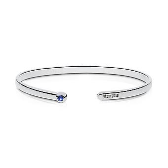 University Of Memphis Engraved Sterling Silver Sapphire Cuff Bracelet