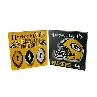 NFL Green Bay Packers Cut Out Helmet and Football Shapes Wall Hangings