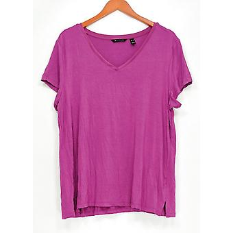 H par Halston Women-apos;s Top Essentials V-Neck Short Sleeve Dark Pink A306231
