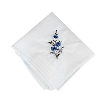 12 Pack Women's/Ladies White Flower Embroidered Handkerchiefs With Satin Stripe Borders, 100% Cotton