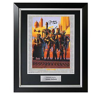 Boba Fett Signed Star Wars Bounty Hunters Poster In Deluxe Frame