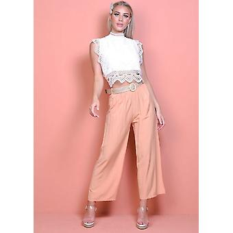 Belted High Waisted Wide Leg Trousers Terracotta Pink