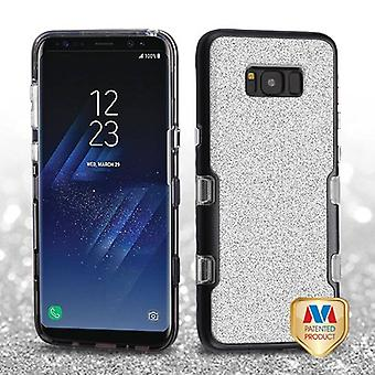 MYBAT Metallic Black/Transparent Clear Silver Full Glitter TUFF Panoview Hybrid Case for Galaxy S8 Plus