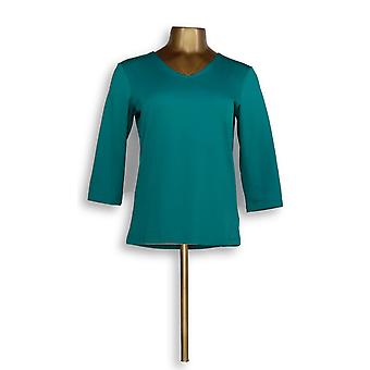Susan Graver Women's Top Essentials Butterknit 3/4 Sleeve Green A214177
