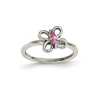 925 Sterling Silver Pink Cubic Zirconia Butterfly Kids Ring - Taille de l'anneau: 3 à 4