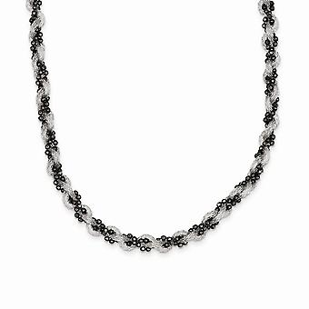 925 Sterling Silver Black Rhodium Plated Mesh and Beaded Necklace 17 Inch Jewelry Gifts for Women