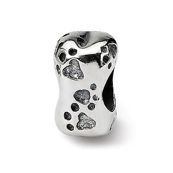 925 Sterling Silver Silver Polished Antiquário Reflections SimStars Animal Pet Animal Bone Bead Charm Pined Necklace Jewely