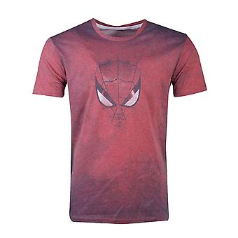 Spiderman T Shirt Acid Wash Face Logo nye officielle Marvel Herre Red