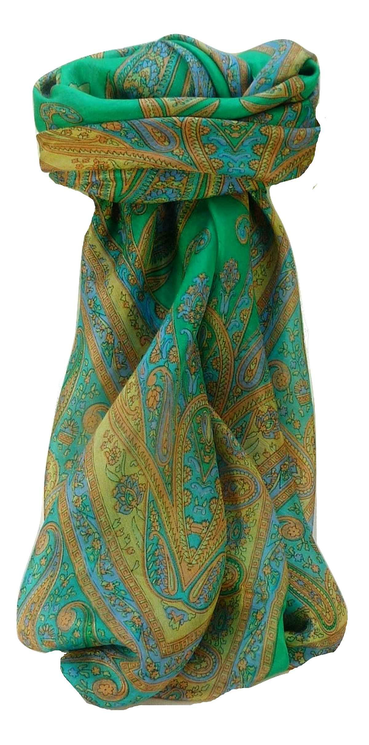Mulberry Silk Traditional Square Scarf Yana Emerald by Pashmina & Silk