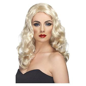 Mujer glamorosa peluca rubia disfraces accesorios