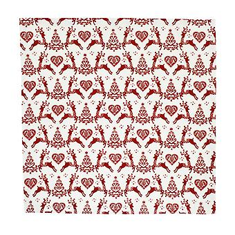Dexam Yuletide Set of 4 Napkins, Red on Cream