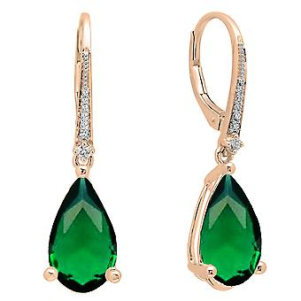 Dazzlingrock collectie 10K 14 x 8 MM elke pear Lab gemaakt Emerald & ronde Diamond bungelen drop oorbellen, Rose goud