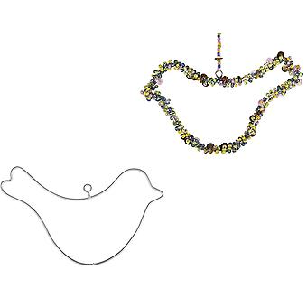 2 Hanging Metal Wire Birds or Christmas Robins to Decorate - 8cm