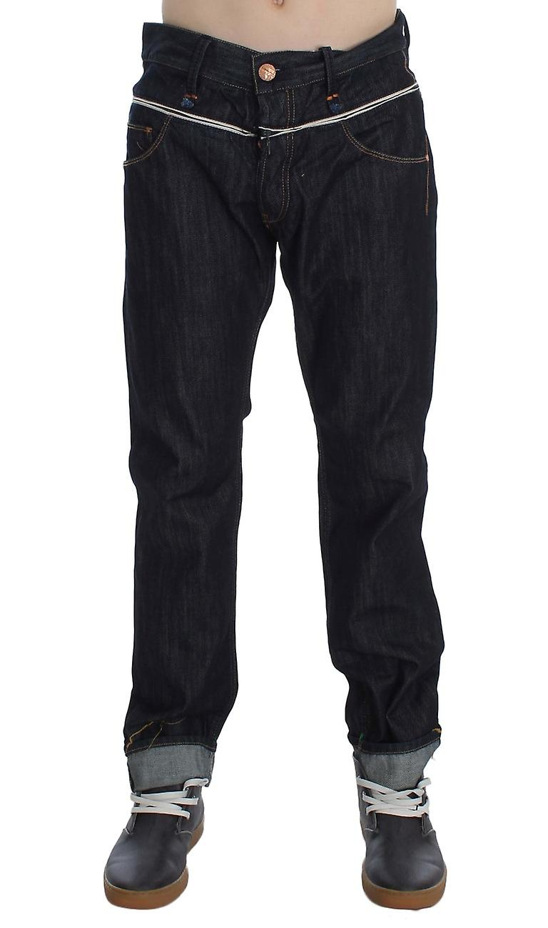 Blue Cotton Regular Straight Fit Jeans With Contrast Band