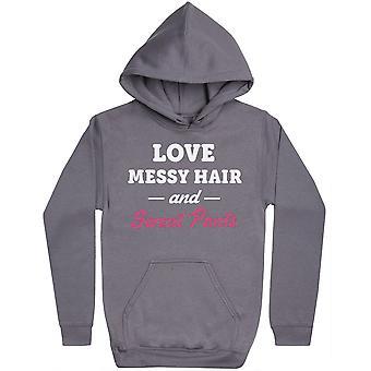 Love Messy Hair and Sweat Pants - Womens Hoodie