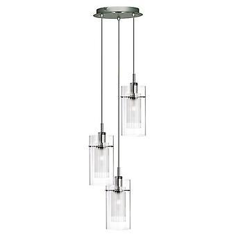 Duo 1 krom 3 lys multi-drop vedhæng med dobbelte glas cylinder nuancer