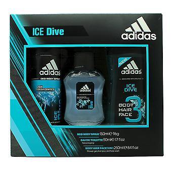 Adidas Ice Dive-Geschenk-Set 250ml Duschgel, 50ml EDT + 150ml Deodorant Body Spray