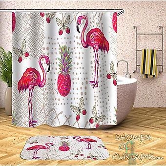 Cortina de ducha de piña y mariposas de flamenco rosa rico