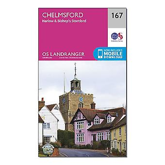 New Ordnance Survey Landranger 167 Chelmsford Harlow & Bishop's Stortford Map Orange