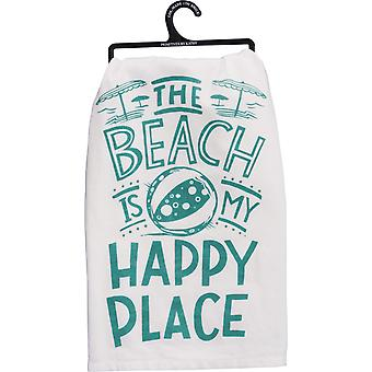 The Beach is My Happy Place Kitchen Dish Towel Cotton