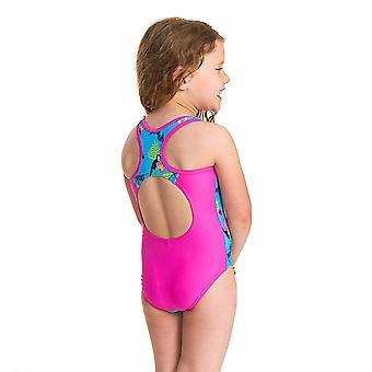 Zoggs Girls Petit Safari Actionback One Piece Swimsuit - Turquoise/Multi