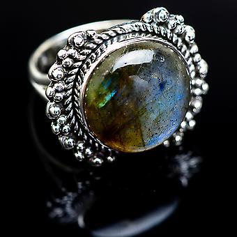 Labradorite ring størrelse 7,25 (925 sterling sølv)-håndlavede Boho vintage smykker RING980719